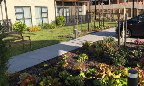 Retirement village walkway gardens path